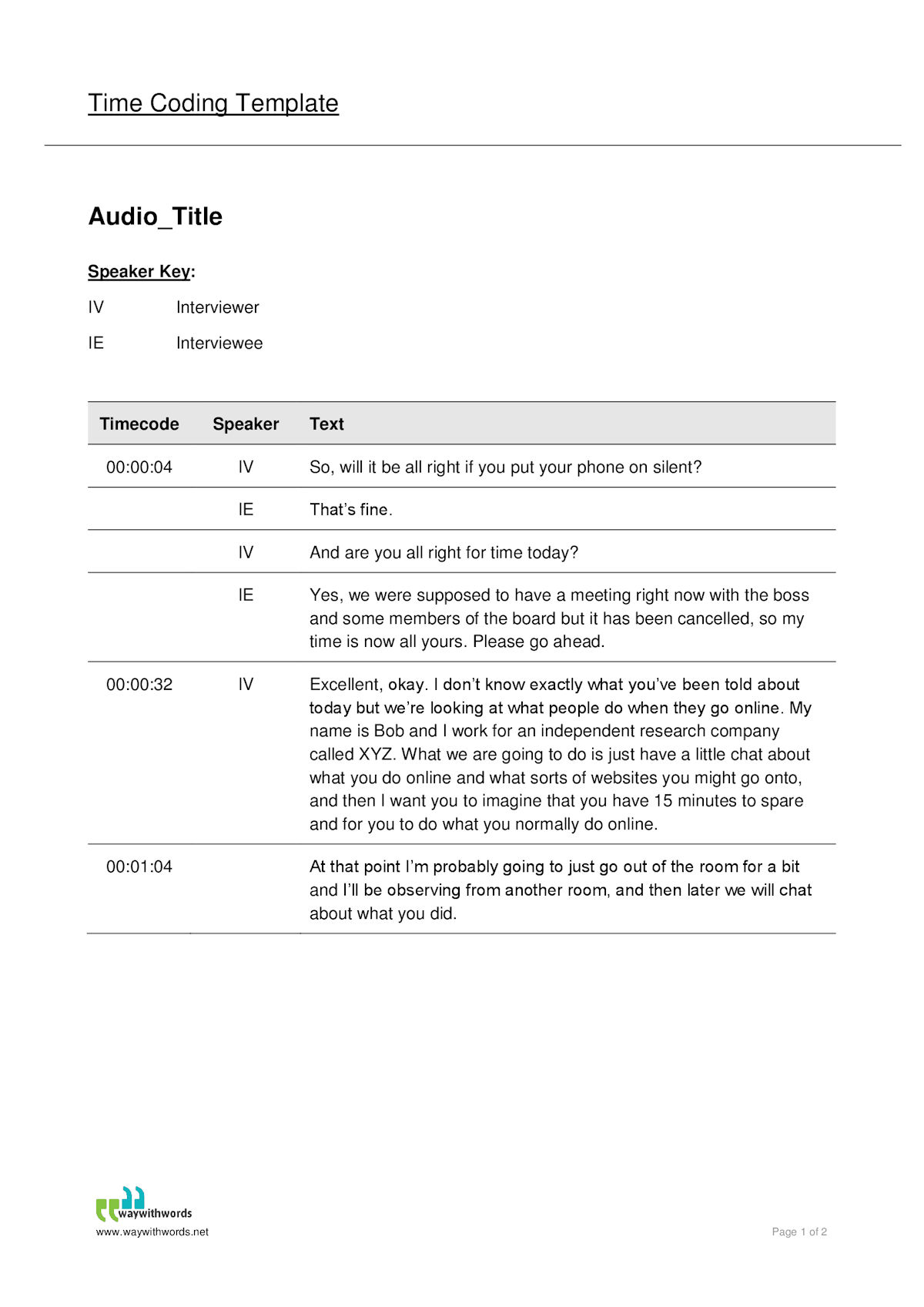 Audio Transcript Time Coded Template 1200 - Way With Words